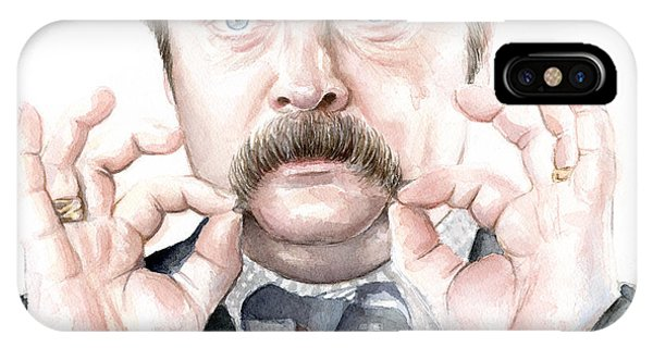 Bacon iPhone Case - Ron Swanson Mustache Portrait by Olga Shvartsur