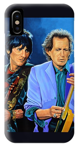 Musicians iPhone Case - Ron Wood And Keith Richards by Paul Meijering