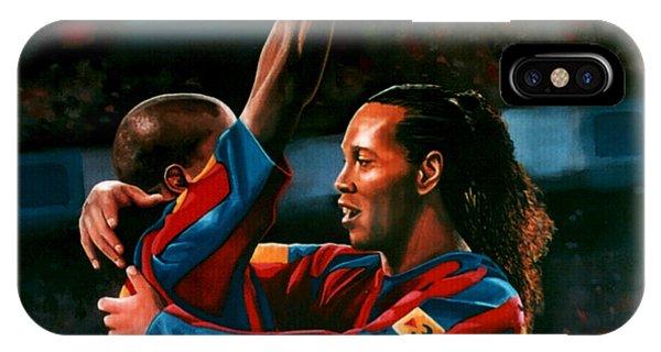 Brazil iPhone X Case - Ronaldinho And Eto'o by Paul Meijering