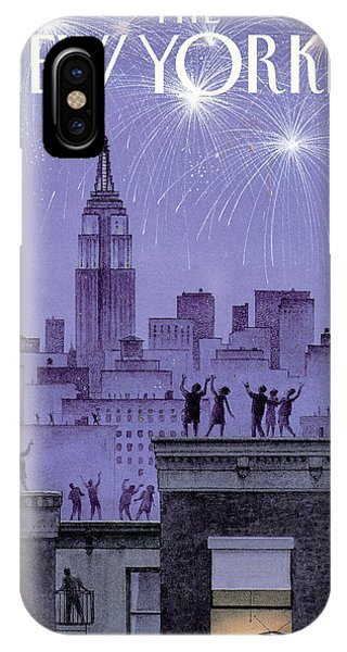 Manhattan Skyline iPhone Case - Rooftop Revelers Celebrate New Year's Eve by Harry Bliss