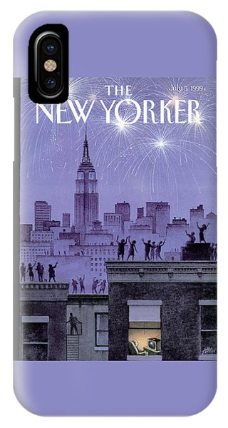Rooftop Revelers Celebrate New Year's Eve IPhone Case