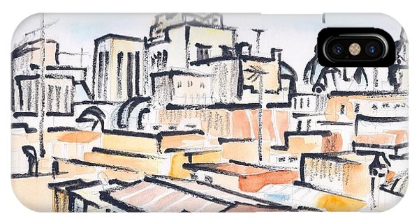 Rooftops Of Barcelona Sketch IPhone Case