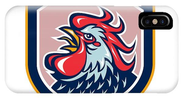 Gamecocks iPhone Case - Rooster Cockerel Crowing Shield Retro by Aloysius Patrimonio