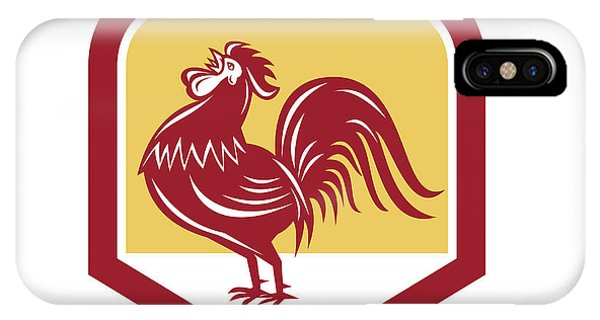 Gamecocks iPhone Case - Rooster Cockerel Crowing Side Woodcut Shield by Aloysius Patrimonio