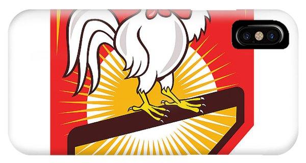 Gamecocks iPhone Case - Rooster Cockerel Waving Hello Shield Cartoon by Aloysius Patrimonio