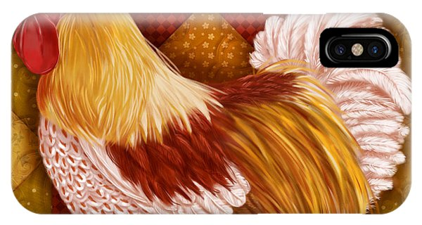 Rooster On A Quilt I IPhone Case