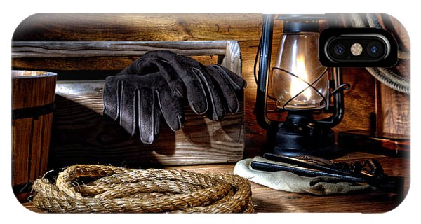 Farm Tool iPhone Case - Rope In The Ranch Barn by Olivier Le Queinec