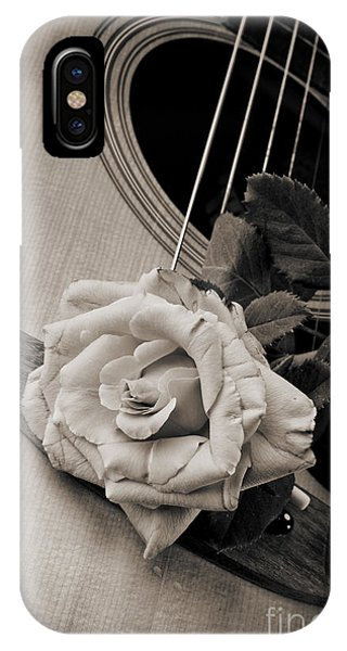Rose Bloom Flower On Guitar In Sepia 3262.01 IPhone Case