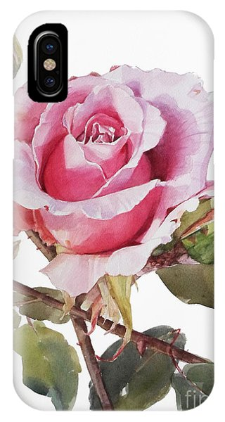 Watercolor Of Pink Rose Grace IPhone Case