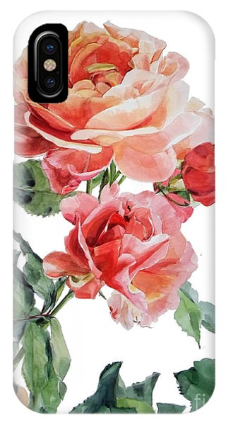 Watercolor Of Red Roses On A Stem I Call Rose Maurice Corens IPhone Case