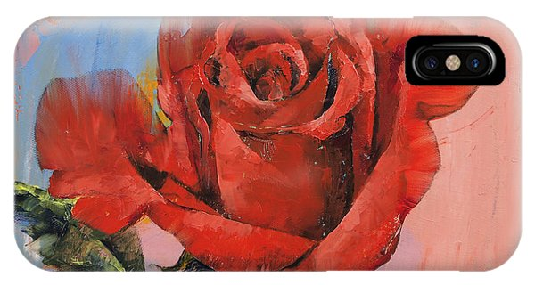 Rose iPhone X / XS Case - Rose Painting by Michael Creese