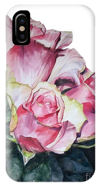 Watercolor Of A Bouquet Of Pink Roses I Call Rose Michelangelo IPhone Case