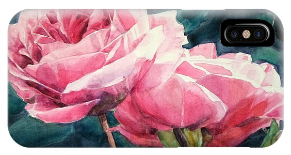 Watercolor Of Two Luscious Pink Roses IPhone Case
