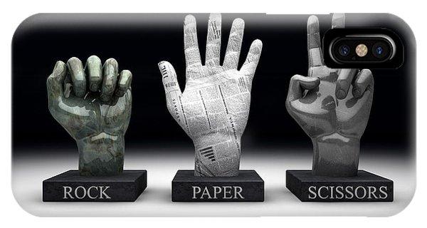 Free Will iPhone Case - Roshambo - Rock Paper Scissors by Allan Swart