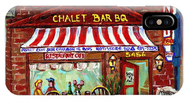 Table For Two iPhone Case - Rotisserie Le Chalet Bbq Restaurant Paintings Storefronts Street Scenes Diners Montreal Art Cspandau by Carole Spandau
