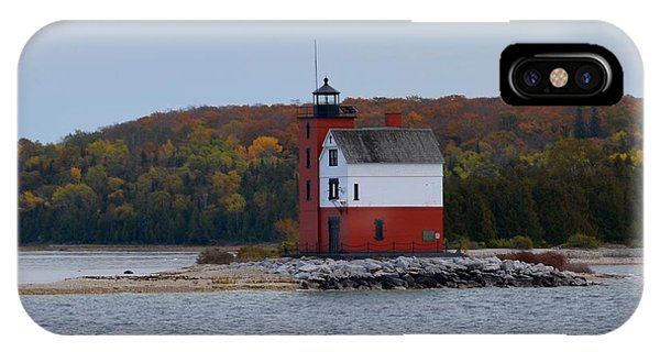 Round Island Lighthouse In Autumn IPhone Case
