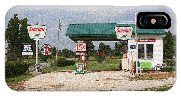 Route 66 Gas Station With Sponge Painting Effect IPhone Case