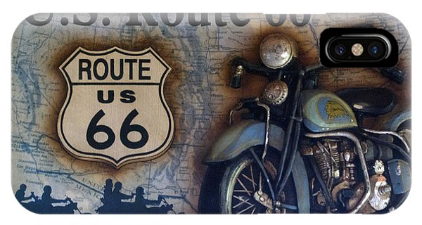 Gas Station iPhone Case - Route 66 Odell Il Gas Station Motorcycle Signage by Thomas Woolworth