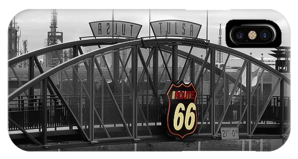 Route 66 Tulsa Sign Bw Splash IPhone Case