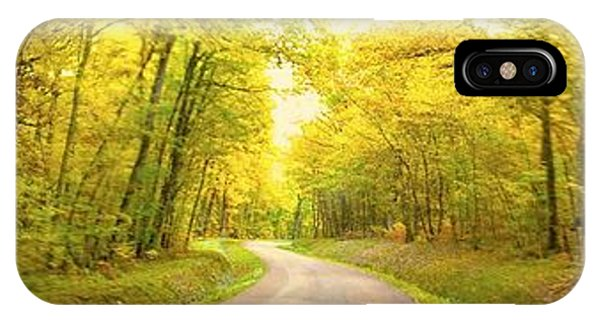 Route Dans La Foret Jaune IPhone Case