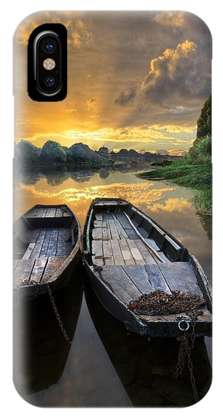 Golden Gardens iPhone Case - Rowboats On The River by Debra and Dave Vanderlaan