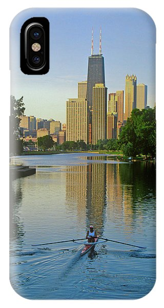 Chicago River iPhone Case - Rower On Chicago River With Skyline by Panoramic Images