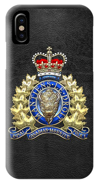 Royal Canadian Mounted Police - Rcmp Badge On Black Leather IPhone Case