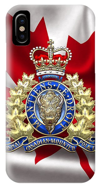 Royal Canadian Mounted Police - Rcmp Badge Over Waving Flag IPhone Case