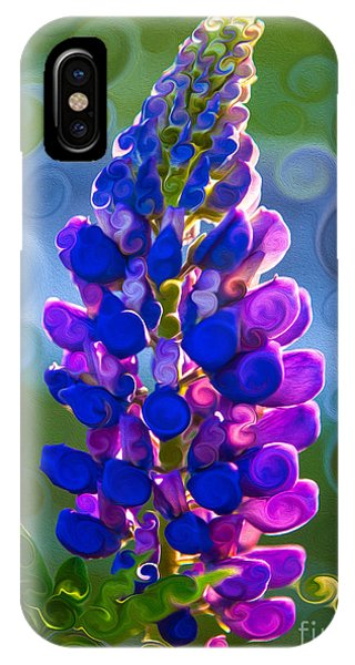 IPhone Case featuring the painting Royal Purple Lupine Flower Abstract Art by Omaste Witkowski