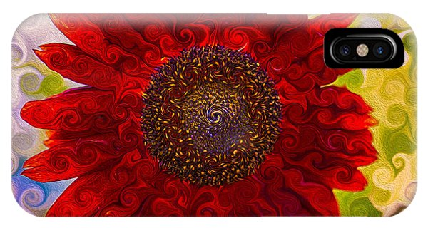 Royal Red Sunflower IPhone Case