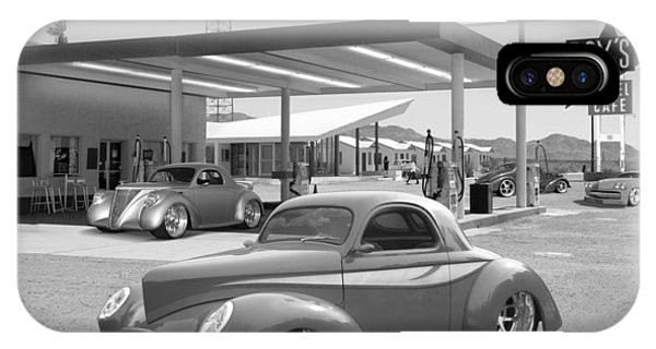 Gas Station iPhone Case - Roy's Gas Station 2bw by Mike McGlothlen