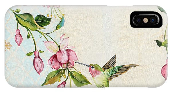 Humming Bird iPhone Case - Rubies Among The Fuchsias-a by Jean Plout