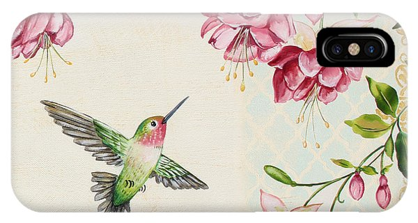 Humming Bird iPhone Case - Rubies Among The Fuchsias-b by Jean Plout