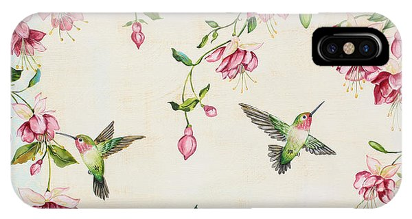 Humming Bird iPhone Case - Rubys Among The Fuchsias by Jean Plout