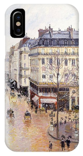 Neighborhood iPhone Case - Rue Saint Honore Afternoon Rain Effect by Camille Pissarro