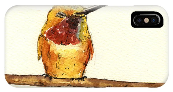 Bird Watercolor iPhone Case - Rufous Hummingbird  by Juan  Bosco