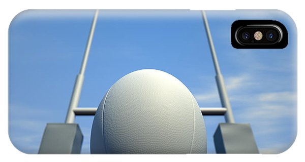 Rugby Ball Closeup Infront Of Posts IPhone Case