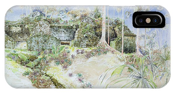 Maya iPhone Case - Ruined Temple, Tikal, Guatemala, 1984 Wc On Paper by James Reeve