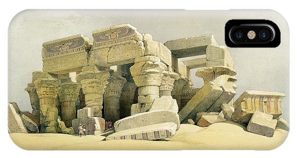 Columns iPhone Case - Ruins Of The Temple Of Kom Ombo by David Roberts