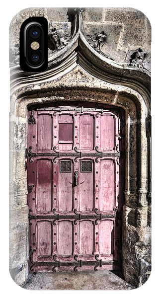 Old Rugged Cross iPhone Case - Ruins With Red Door by Evie Carrier