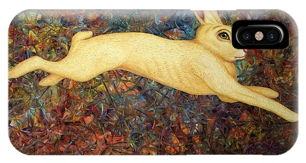 Rabbit iPhone Case - Running Rabbit by James W Johnson