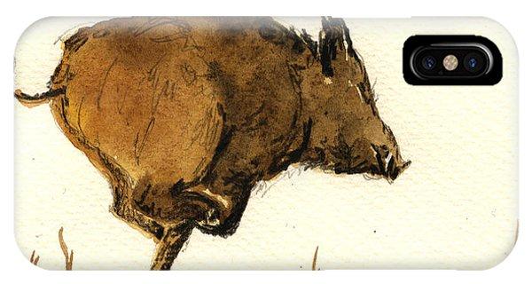 Pig iPhone Case - Running Wild Boar by Juan  Bosco