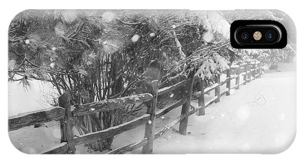 White Fence iPhone Case - Rural Winter Scene With Fence by Elena Elisseeva