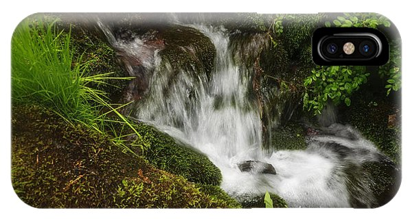 Rushing Mountain Stream And Moss IPhone Case