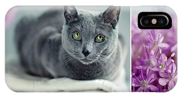 Russia iPhone Case - Russian Blue Collage by Nailia Schwarz