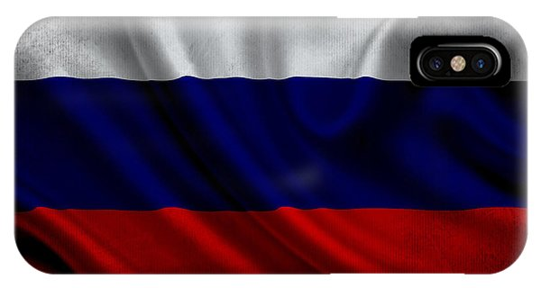 Russian Flag Waving On Canvas IPhone Case