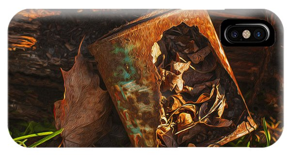Lid iPhone Case - Rusted Can Of Leaves by Jack Zulli