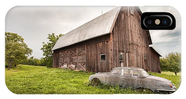 Rustic Art - Old Car And Barn IPhone Case