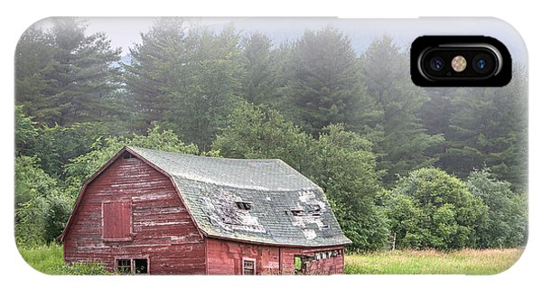 Rustic Landscape - Red Barn - Old Barn And Mountains IPhone Case