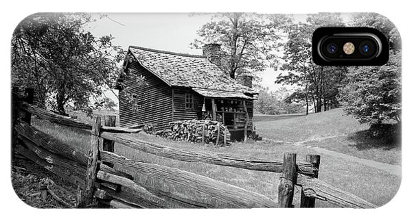 1880s iPhone Case - Rustic Log Cabin From 1880s Behind Post by Vintage Images